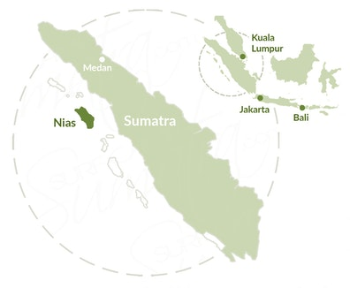 Hinako Islands, Nias  map